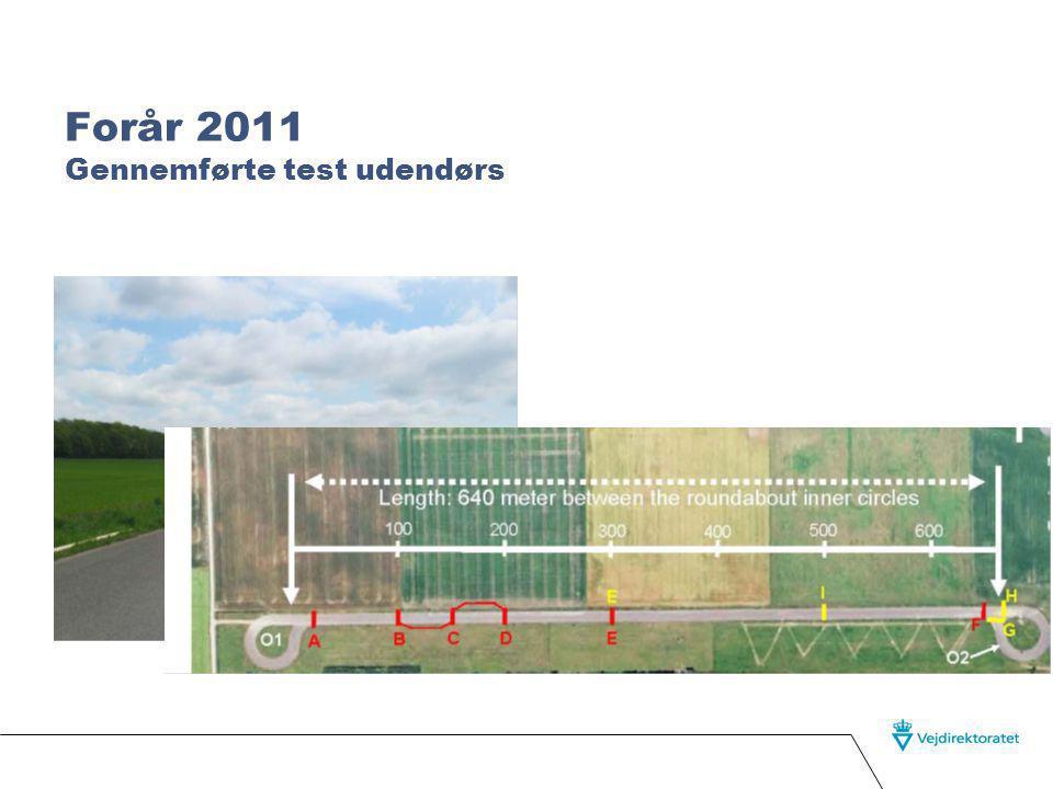Forår 2011 Gennemførte test udendørs