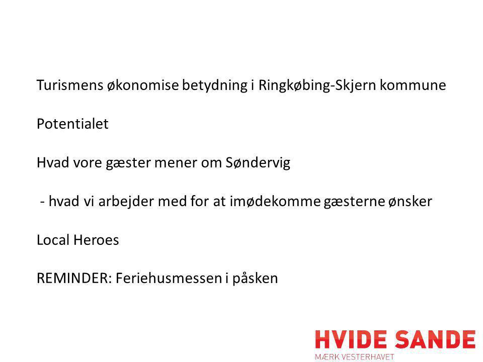 Turismens økonomise betydning i Ringkøbing-Skjern kommune Potentialet Hvad vore gæster mener om Søndervig - hvad vi arbejder med for at imødekomme gæsterne ønsker Local Heroes REMINDER: Feriehusmessen i påsken