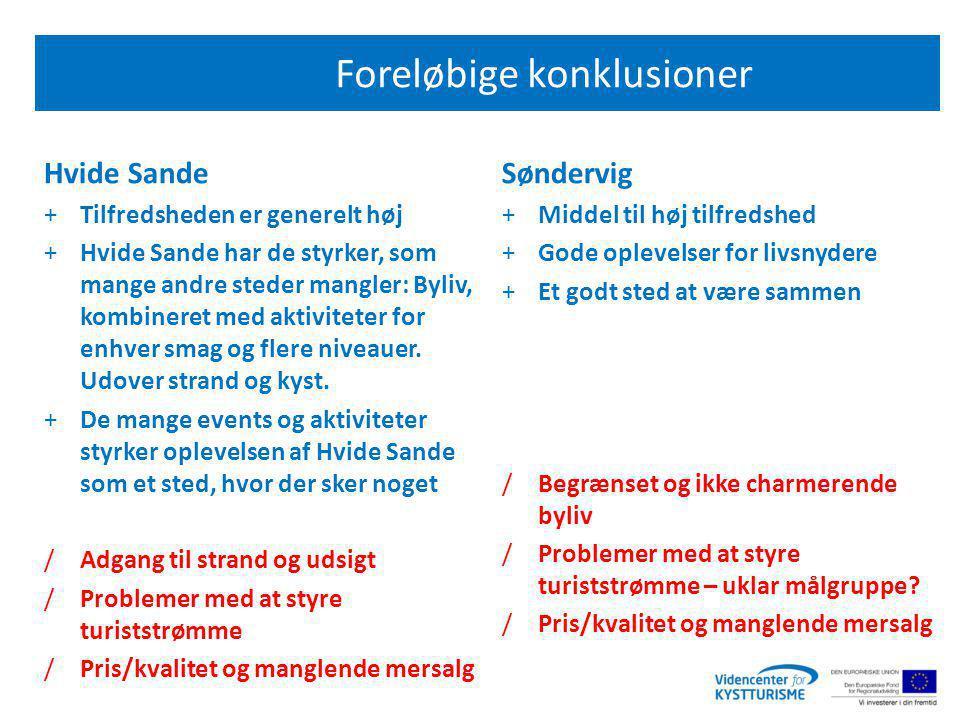 Foreløbige konklusioner Hvide Sande +Tilfredsheden er generelt høj +Hvide Sande har de styrker, som mange andre steder mangler: Byliv, kombineret med aktiviteter for enhver smag og flere niveauer.