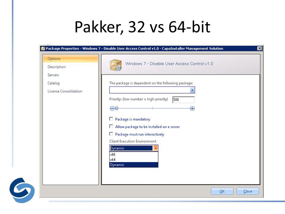 Pakker, 32 vs 64-bit