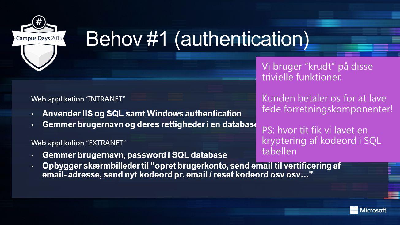 Web applikation INTRANET • Anvender IIS og SQL samt Windows authentication • Gemmer brugernavn og deres rettigheder i en database i SQL Web applikation EXTRANET • Gemmer brugernavn, password i SQL database • Opbygger skærmbilleder til opret brugerkonto, send email til vertificering af email- adresse, send nyt kodeord pr.