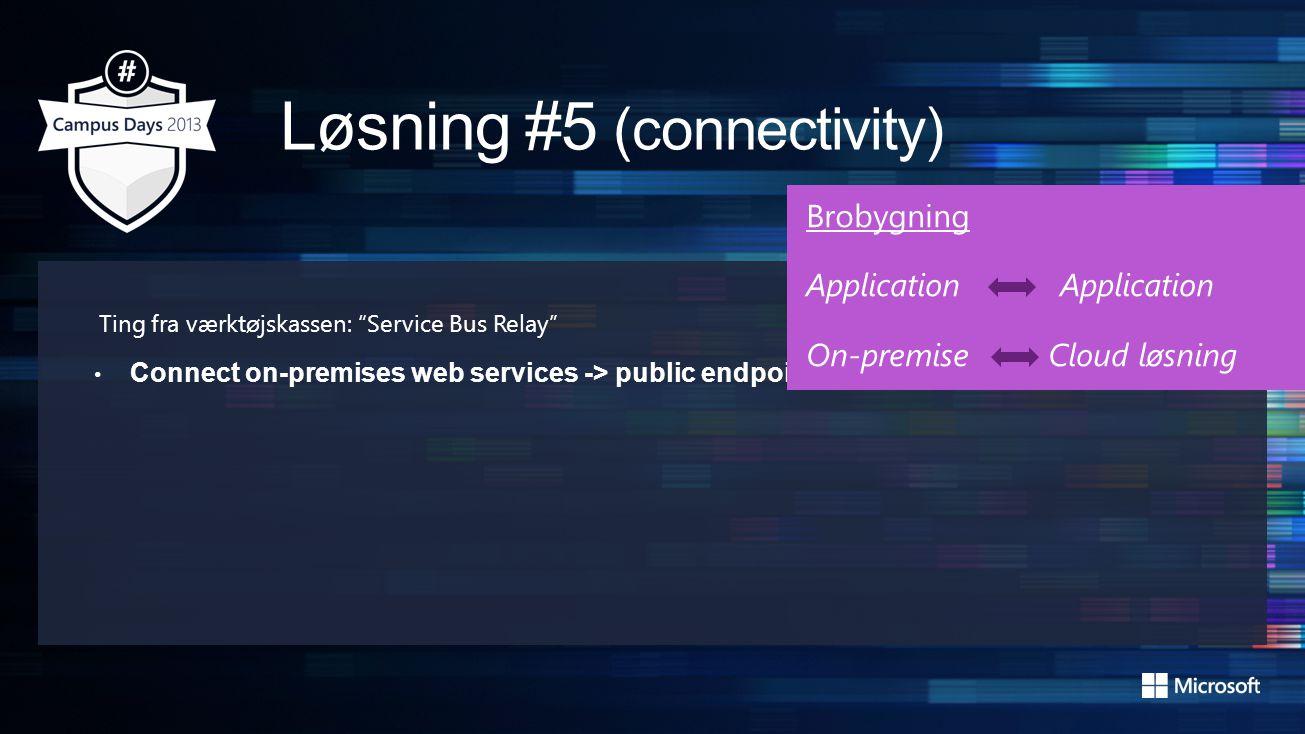 Ting fra værktøjskassen: Service Bus Relay • Connect on-premises web services -> public endpoints