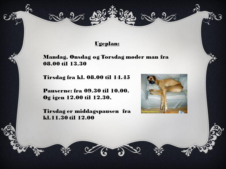 Ugeplan: Mandag, Onsdag og Torsdag møder man fra 08.00 til 13.30 Tirsdag fra kl.
