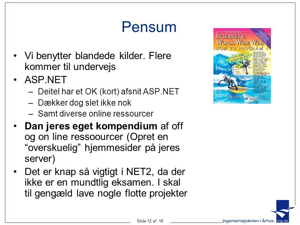 Ingeniørhøjskolen i Århus Slide 12 af 18 Pensum •Vi benytter blandede kilder.