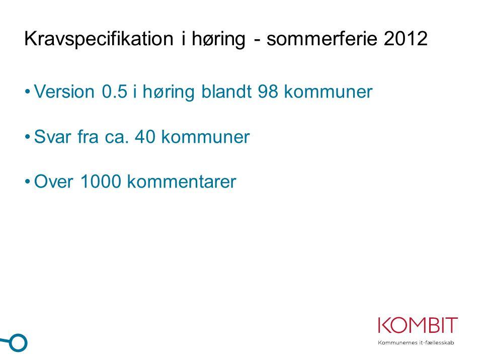 Kravspecifikation i høring - sommerferie 2012 •Version 0.5 i høring blandt 98 kommuner •Svar fra ca.