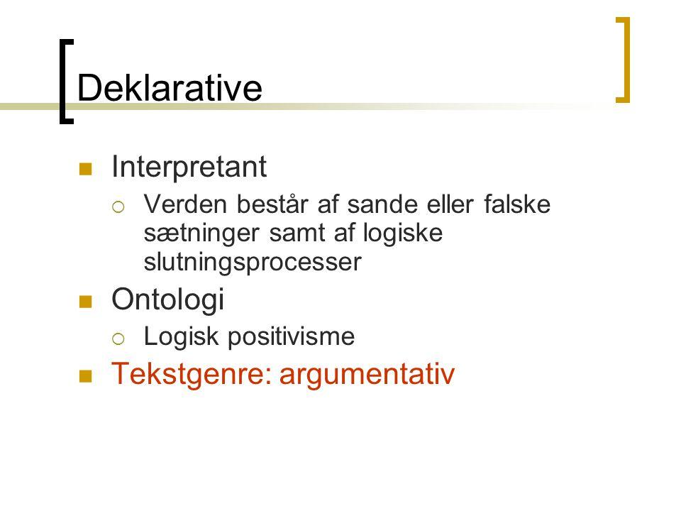 Deklarative  Interpretant  Verden består af sande eller falske sætninger samt af logiske slutningsprocesser  Ontologi  Logisk positivisme  Tekstgenre: argumentativ