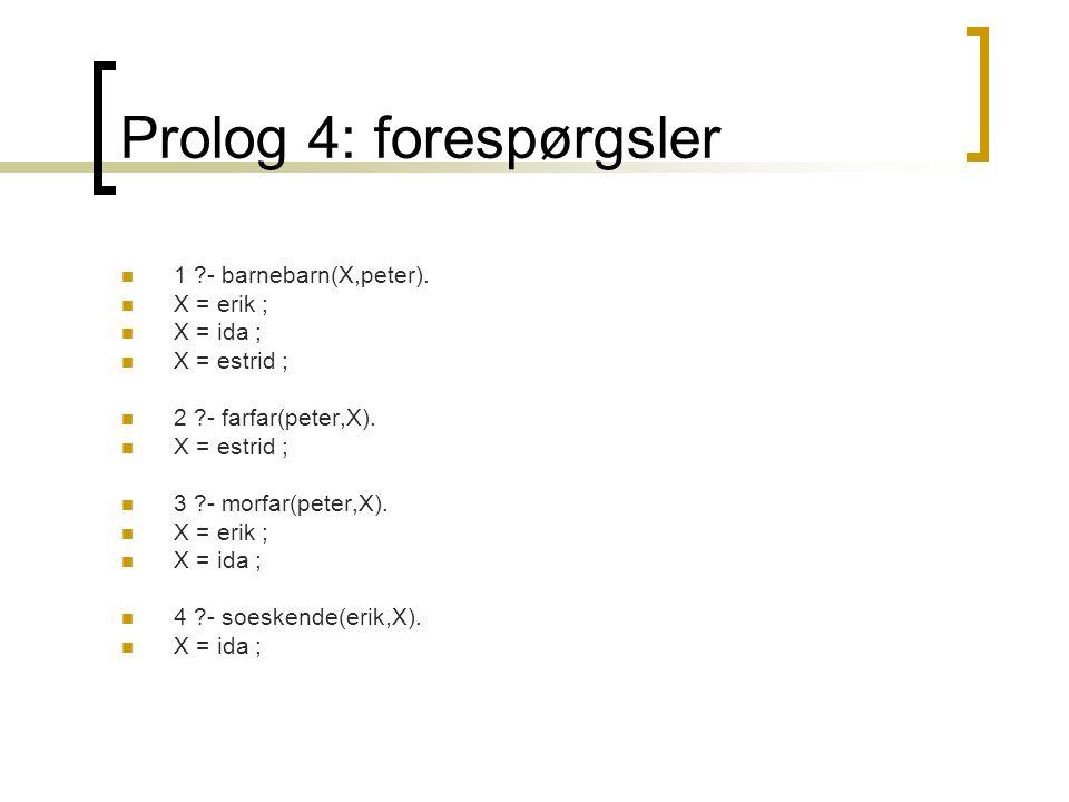 Prolog 4: forespørgsler  1 - barnebarn(X,peter).