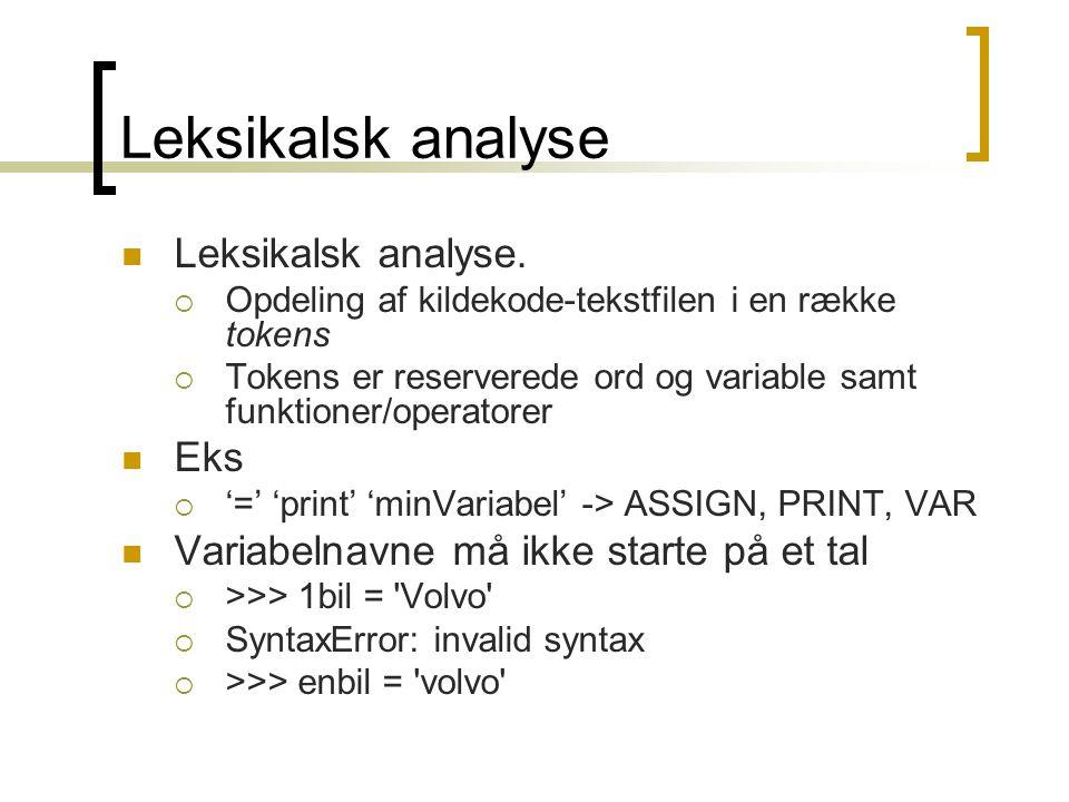 Leksikalsk analyse  Leksikalsk analyse.