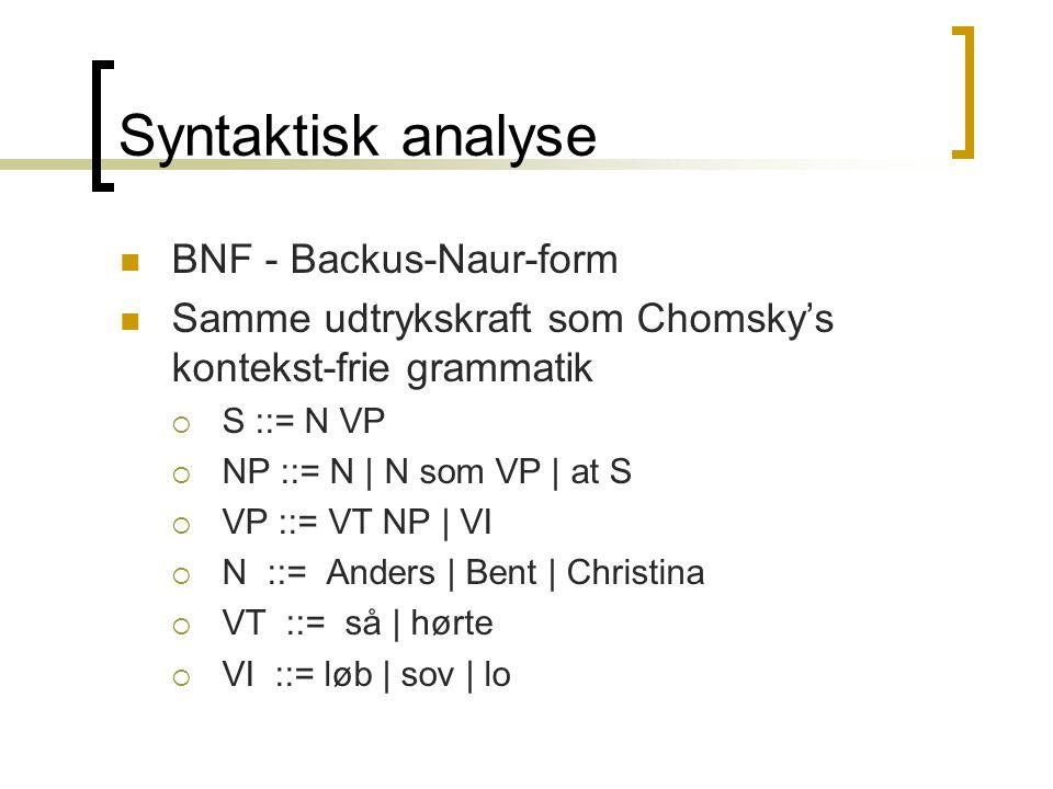 Syntaktisk analyse  BNF - Backus-Naur-form  Samme udtrykskraft som Chomsky's kontekst-frie grammatik  S ::= N VP  NP ::= N | N som VP | at S  VP ::= VT NP | VI  N ::= Anders | Bent | Christina  VT ::= så | hørte  VI ::= løb | sov | lo