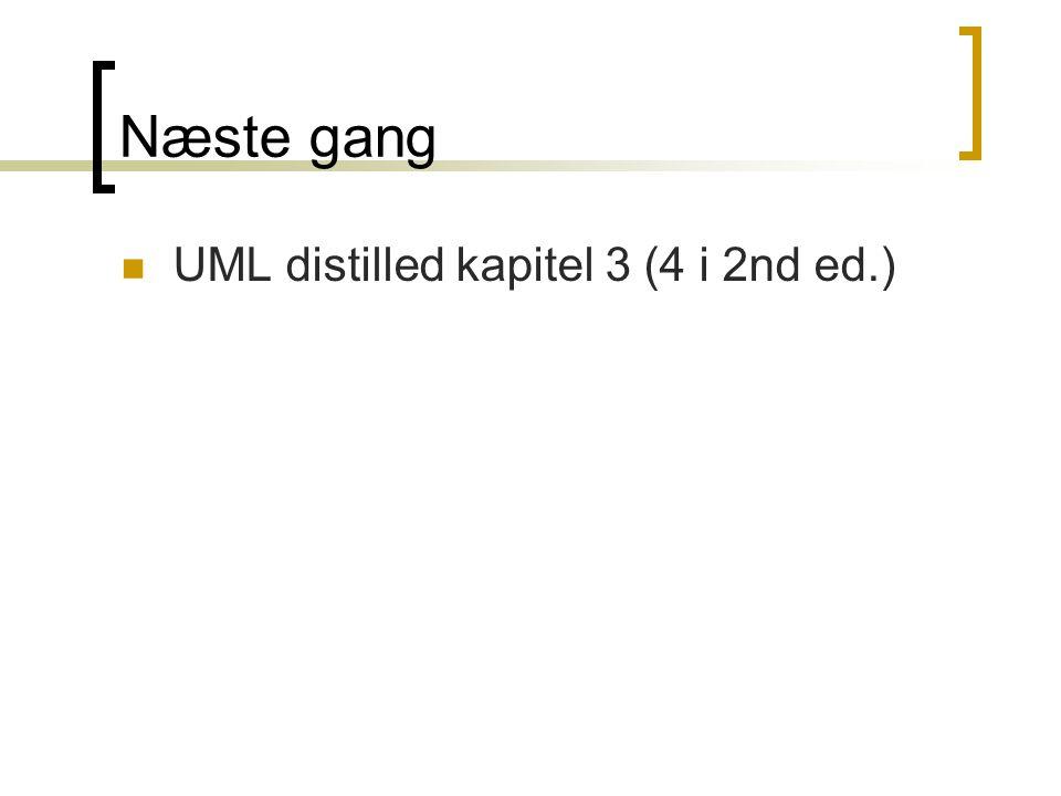 Næste gang  UML distilled kapitel 3 (4 i 2nd ed.)
