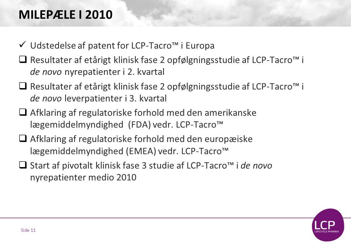 Side 11 MILEPÆLE I 2010  Udstedelse af patent for LCP-Tacro™ i Europa  Resultater af etårigt klinisk fase 2 opfølgningsstudie af LCP-Tacro™ i de novo nyrepatienter i 2.