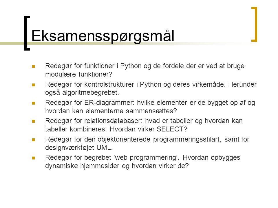 Eksamensspørgsmål  Redegør for funktioner i Python og de fordele der er ved at bruge modulære funktioner.