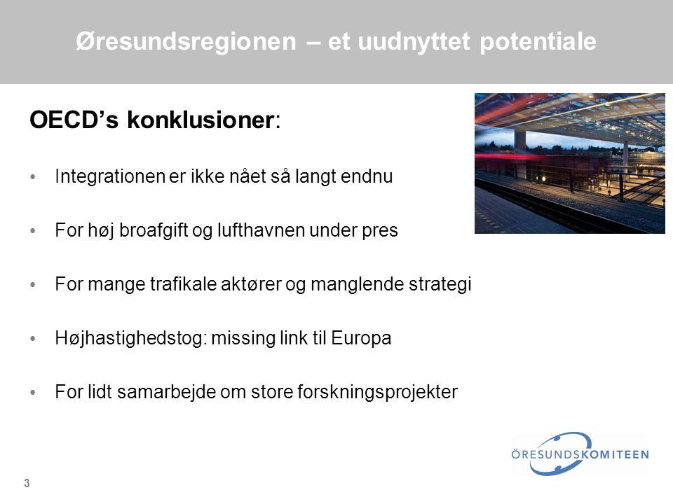 3 Øresundsregionen – et uudnyttet potentiale OECD's konklusioner: • Integrationen er ikke nået så langt endnu • For høj broafgift og lufthavnen under pres • For mange trafikale aktører og manglende strategi • Højhastighedstog: missing link til Europa • For lidt samarbejde om store forskningsprojekter