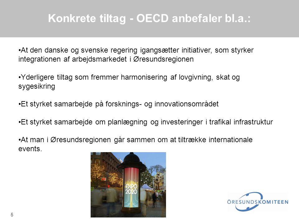 5 Konkrete tiltag - OECD anbefaler bl.a.: •At den danske og svenske regering igangsætter initiativer, som styrker integrationen af arbejdsmarkedet i Øresundsregionen •Yderligere tiltag som fremmer harmonisering af lovgivning, skat og sygesikring •Et styrket samarbejde på forsknings- og innovationsområdet •Et styrket samarbejde om planlægning og investeringer i trafikal infrastruktur •At man i Øresundsregionen går sammen om at tiltrække internationale events.