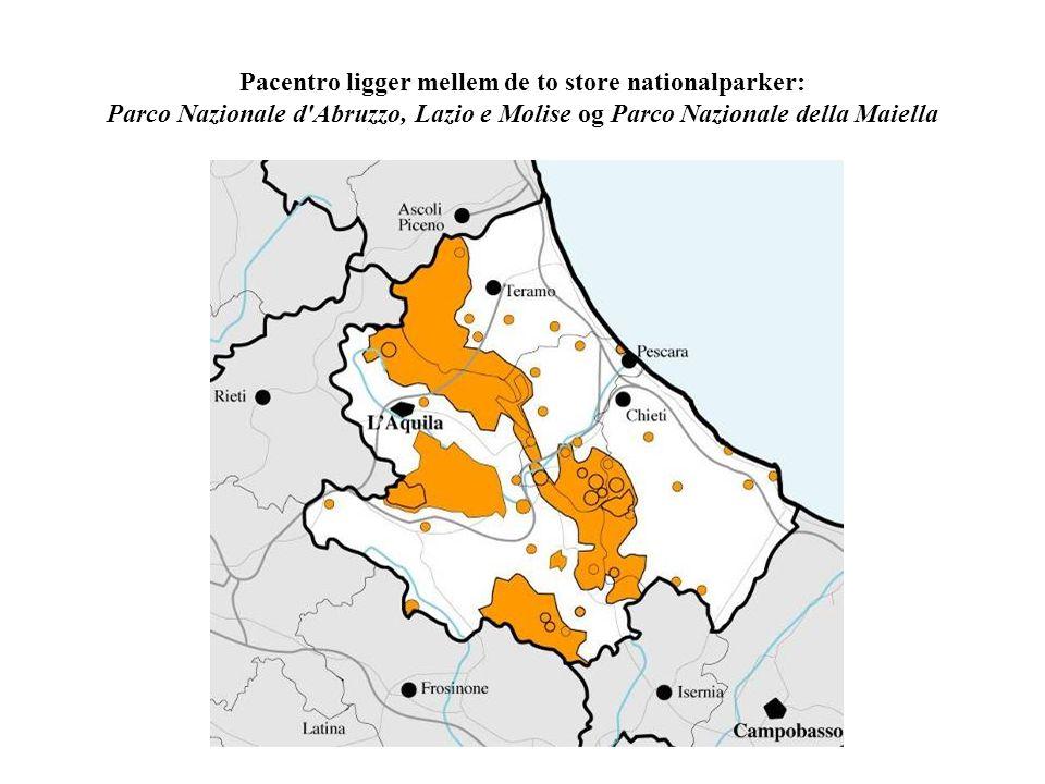 Pacentro ligger mellem de to store nationalparker: Parco Nazionale d Abruzzo, Lazio e Molise og Parco Nazionale della Maiella