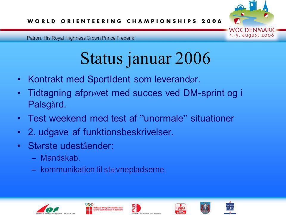 Patron: His Royal Highness Crown Prince Frederik Status januar 2006 •Kontrakt med SportIdent som leverand ø r.