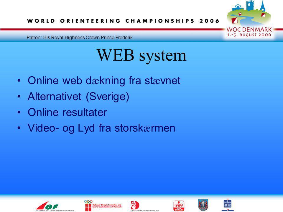 Patron: His Royal Highness Crown Prince Frederik WEB system •Online web d æ kning fra st æ vnet •Alternativet (Sverige) •Online resultater •Video- og Lyd fra storsk æ rmen