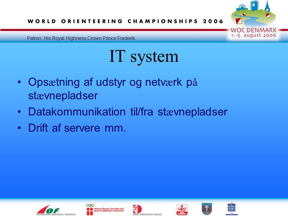 Patron: His Royal Highness Crown Prince Frederik IT system •Ops æ tning af udstyr og netv æ rk p å st æ vnepladser •Datakommunikation til/fra st æ vnepladser •Drift af servere mm.