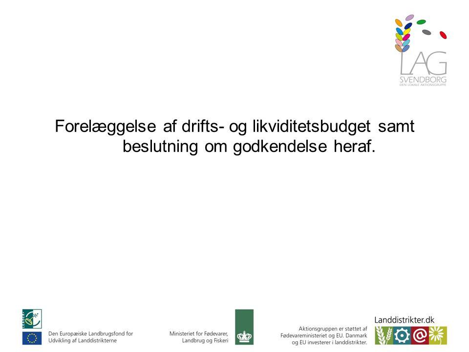Forelæggelse af drifts- og likviditetsbudget samt beslutning om godkendelse heraf.