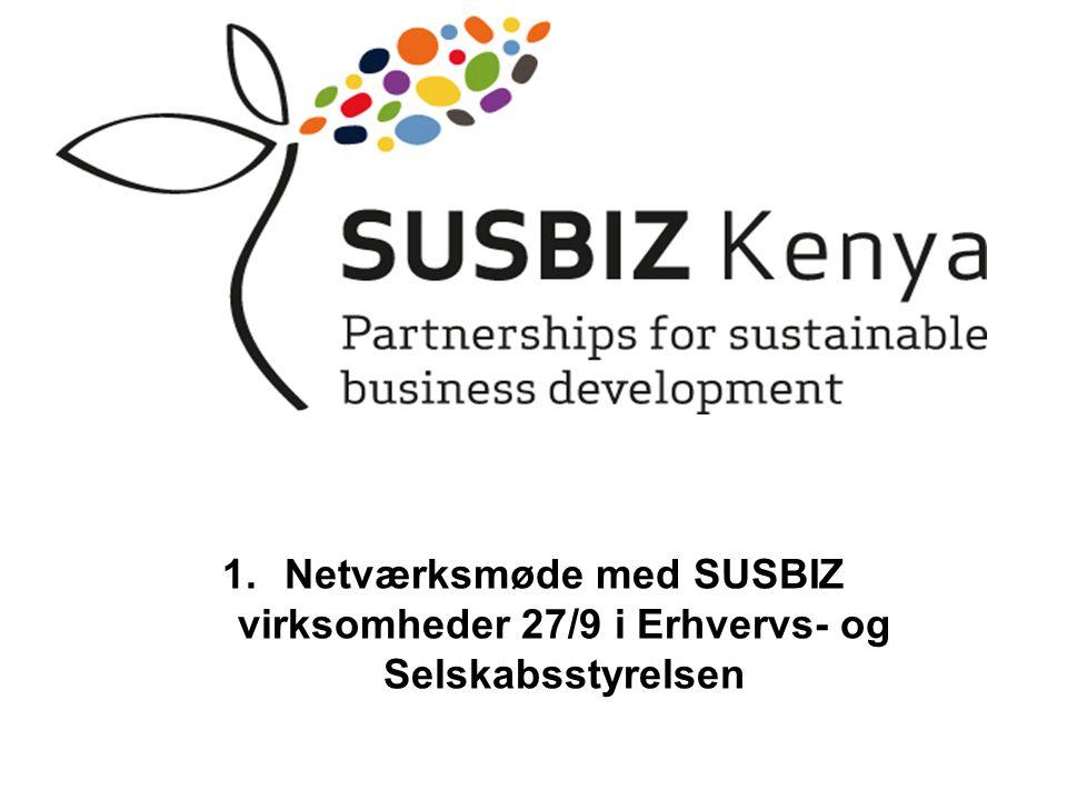 1.Netværksmøde med SUSBIZ virksomheder 27/9 i Erhvervs- og Selskabsstyrelsen
