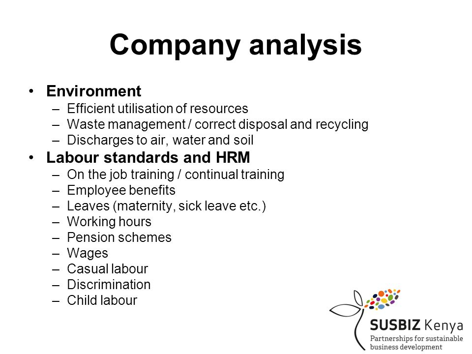 Company analysis •Environment –Efficient utilisation of resources –Waste management / correct disposal and recycling –Discharges to air, water and soil •Labour standards and HRM –On the job training / continual training –Employee benefits –Leaves (maternity, sick leave etc.) –Working hours –Pension schemes –Wages –Casual labour –Discrimination –Child labour