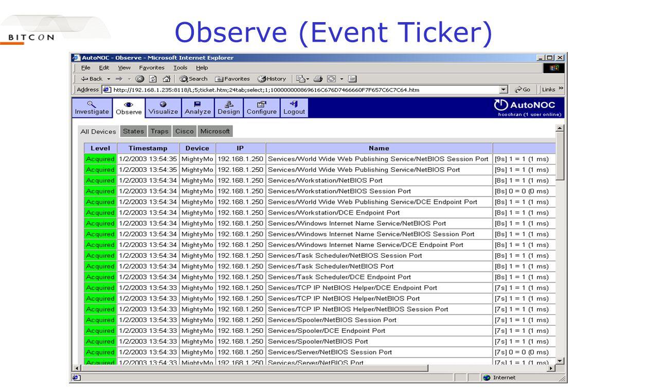 Observe (Event Ticker)