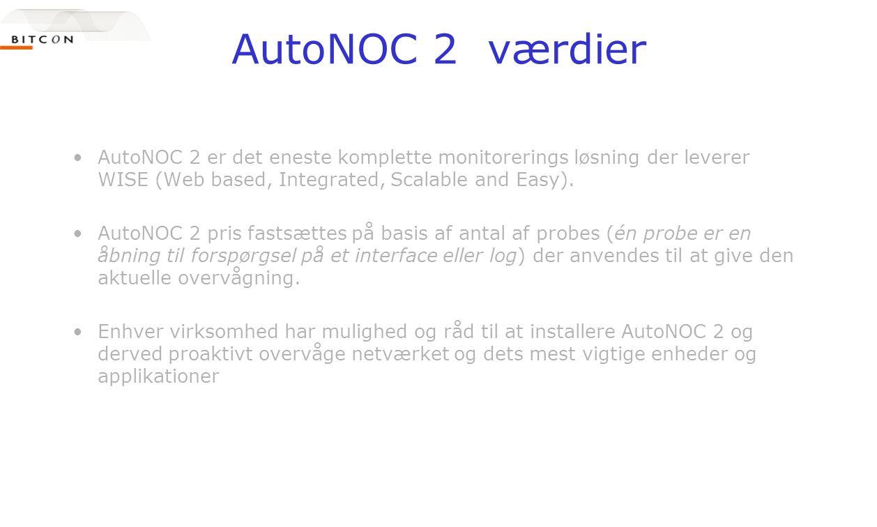 AutoNOC 2 værdier •AutoNOC 2 er det eneste komplette monitorerings løsning der leverer WISE (Web based, Integrated, Scalable and Easy).