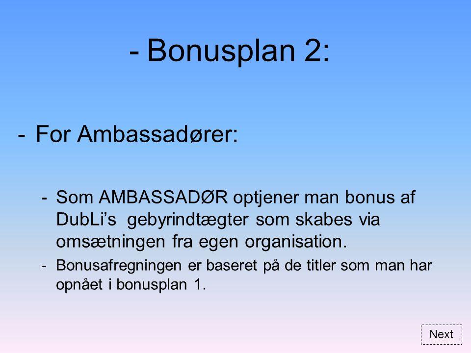 -Bonusplan 2: -For Ambassadører: -Som AMBASSADØR optjener man bonus af DubLi's gebyrindtægter som skabes via omsætningen fra egen organisation.