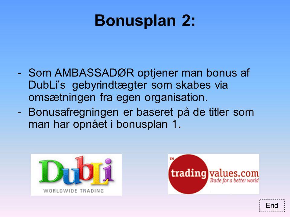 Bonusplan 2: -Som AMBASSADØR optjener man bonus af DubLi's gebyrindtægter som skabes via omsætningen fra egen organisation.