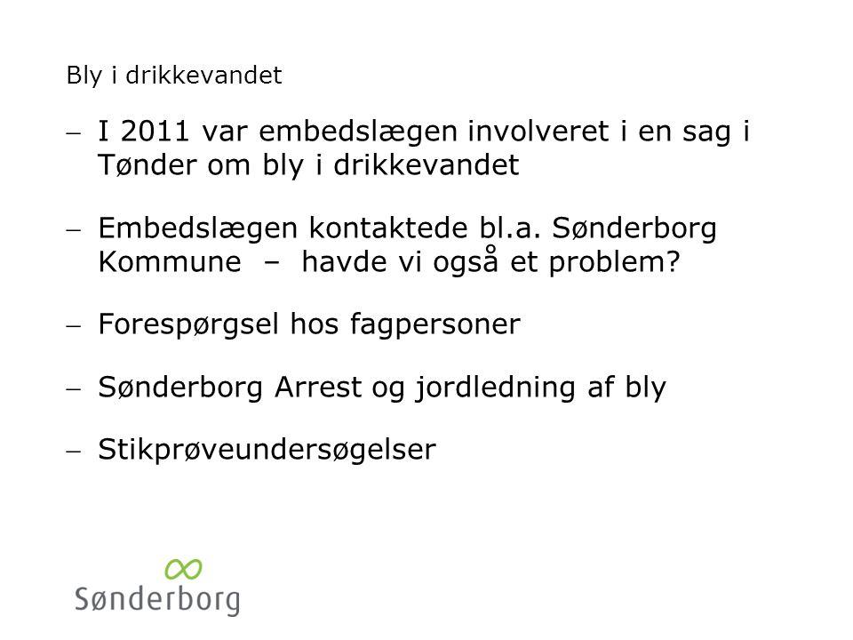 Bly i drikkevandet I 2011 var embedslægen involveret i en sag i Tønder om bly i drikkevandet Embedslægen kontaktede bl.a.