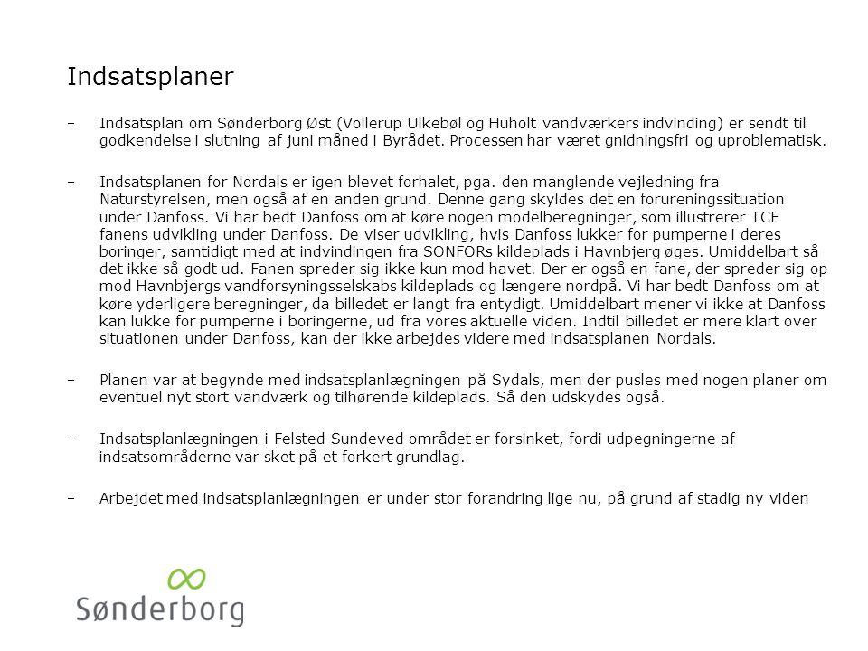 Indsatsplaner Indsatsplan om Sønderborg Øst (Vollerup Ulkebøl og Huholt vandværkers indvinding) er sendt til godkendelse i slutning af juni måned i Byrådet.