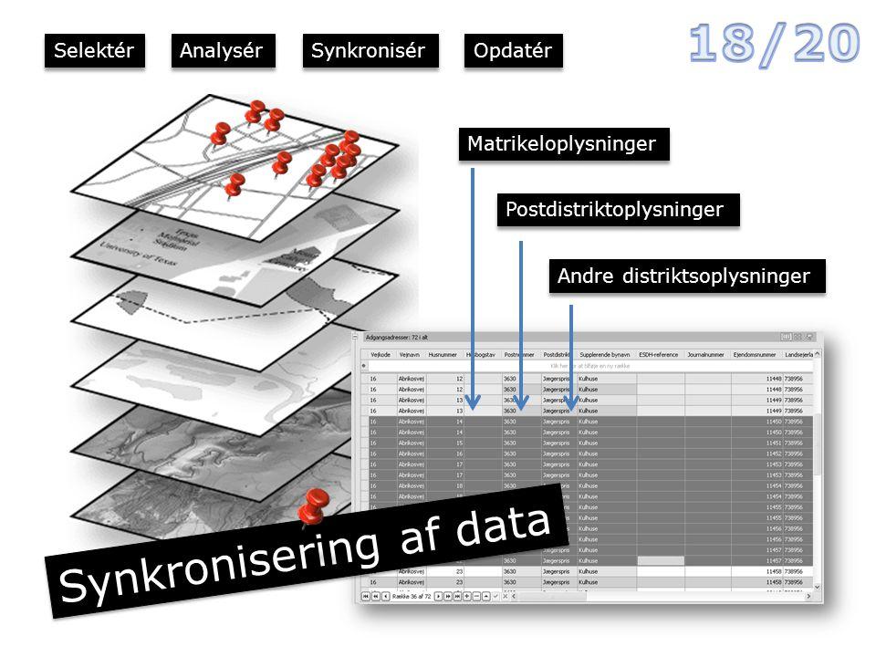 Matrikeloplysninger Andre distriktsoplysninger Postdistriktoplysninger Synkronisering af data Selektér Analysér Synkronisér Opdatér