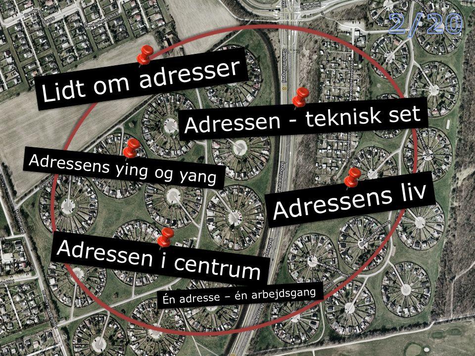 Lidt om adresser Adressen - teknisk set Adressens ying og yang Adressens liv Adressen i centrum Én adresse – én arbejdsgang