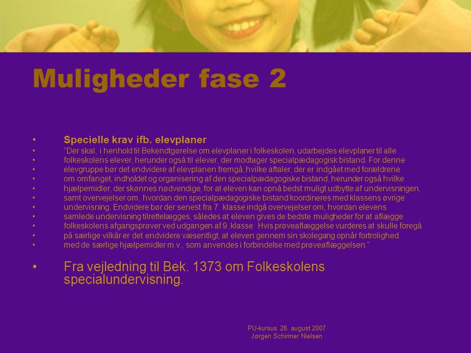 PU-kursus 28. august 2007 Jørgen Schirmer Nielsen Muligheder fase 2 •Specielle krav ifb.