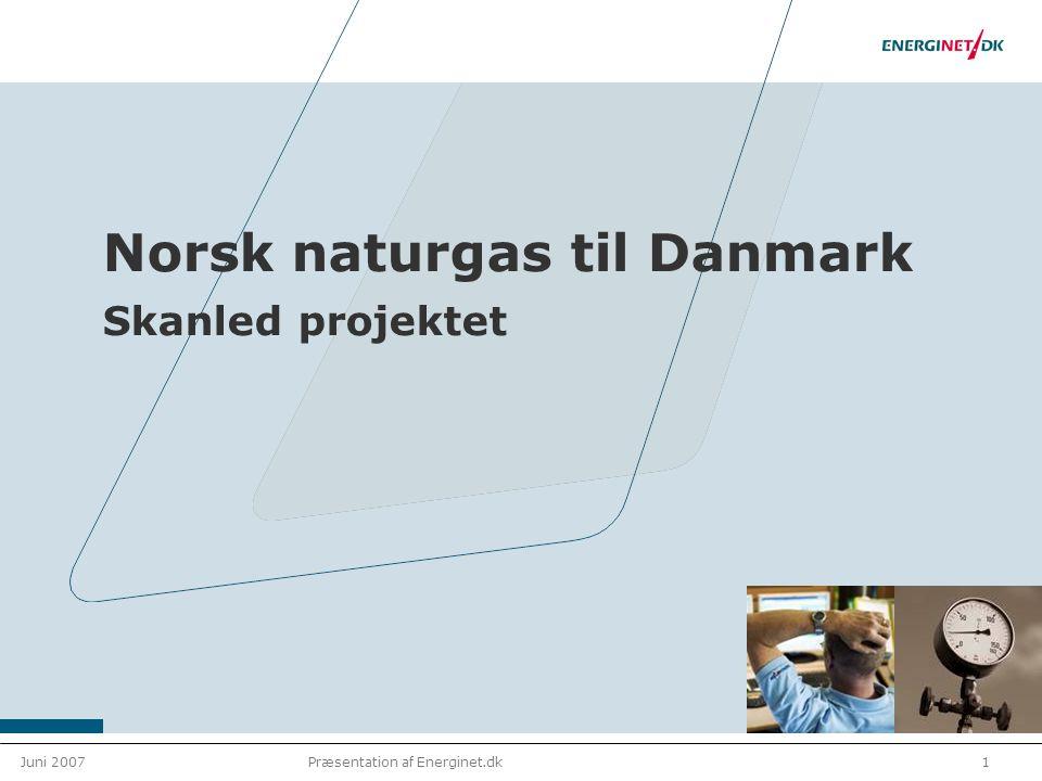 Juni 20071Præsentation af Energinet.dk Norsk naturgas til Danmark Skanled projektet