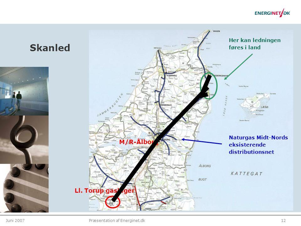 Juni 200712Præsentation af Energinet.dk Skanled Naturgas Midt-Nords eksisterende distributionsnet Ll.