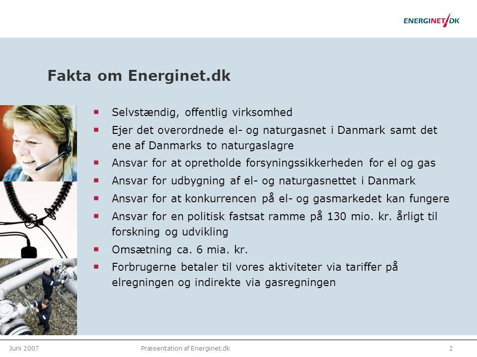 Juni 20072Præsentation af Energinet.dk Fakta om Energinet.dk Selvstændig, offentlig virksomhed Ejer det overordnede el- og naturgasnet i Danmark samt det ene af Danmarks to naturgaslagre Ansvar for at opretholde forsyningssikkerheden for el og gas Ansvar for udbygning af el- og naturgasnettet i Danmark Ansvar for at konkurrencen på el- og gasmarkedet kan fungere Ansvar for en politisk fastsat ramme på 130 mio.