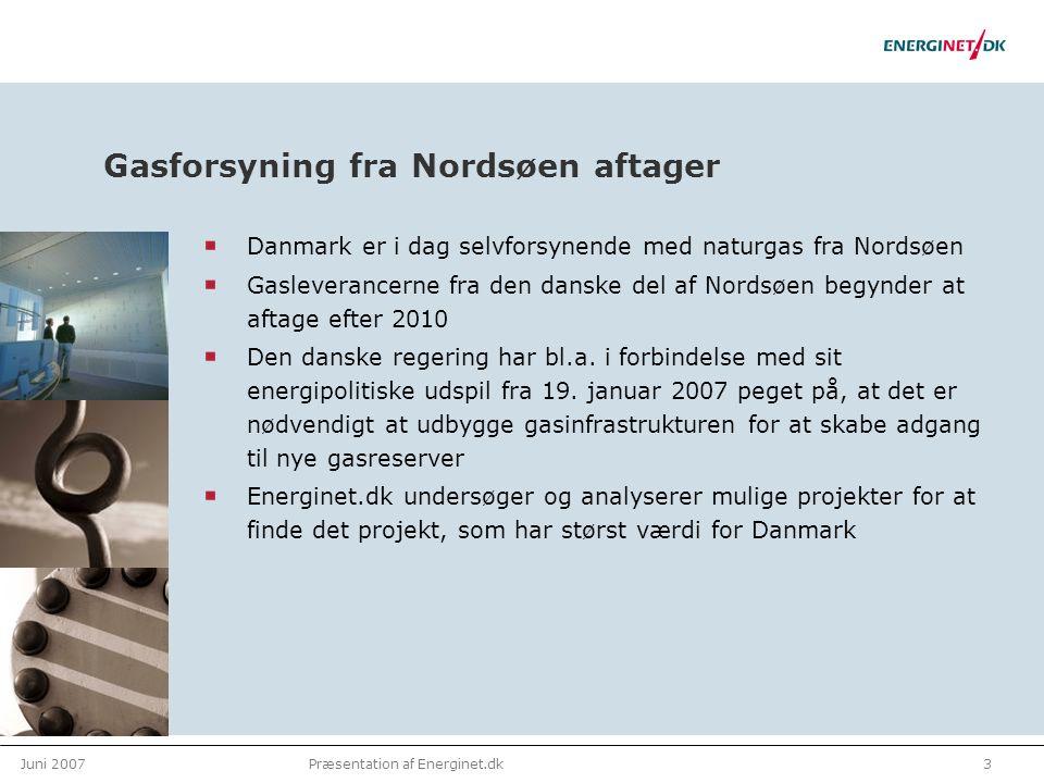 Juni 20073Præsentation af Energinet.dk Gasforsyning fra Nordsøen aftager Danmark er i dag selvforsynende med naturgas fra Nordsøen Gasleverancerne fra den danske del af Nordsøen begynder at aftage efter 2010 Den danske regering har bl.a.