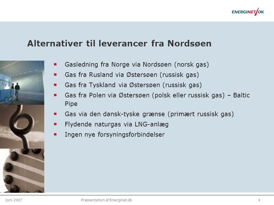 Juni 20074Præsentation af Energinet.dk Alternativer til leverancer fra Nordsøen Gasledning fra Norge via Nordsøen (norsk gas) Gas fra Rusland via Østersøen (russisk gas) Gas fra Tyskland via Østersøen (russisk gas) Gas fra Polen via Østersøen (polsk eller russisk gas) – Baltic Pipe Gas via den dansk-tyske grænse (primært russisk gas) Flydende naturgas via LNG-anlæg Ingen nye forsyningsforbindelser