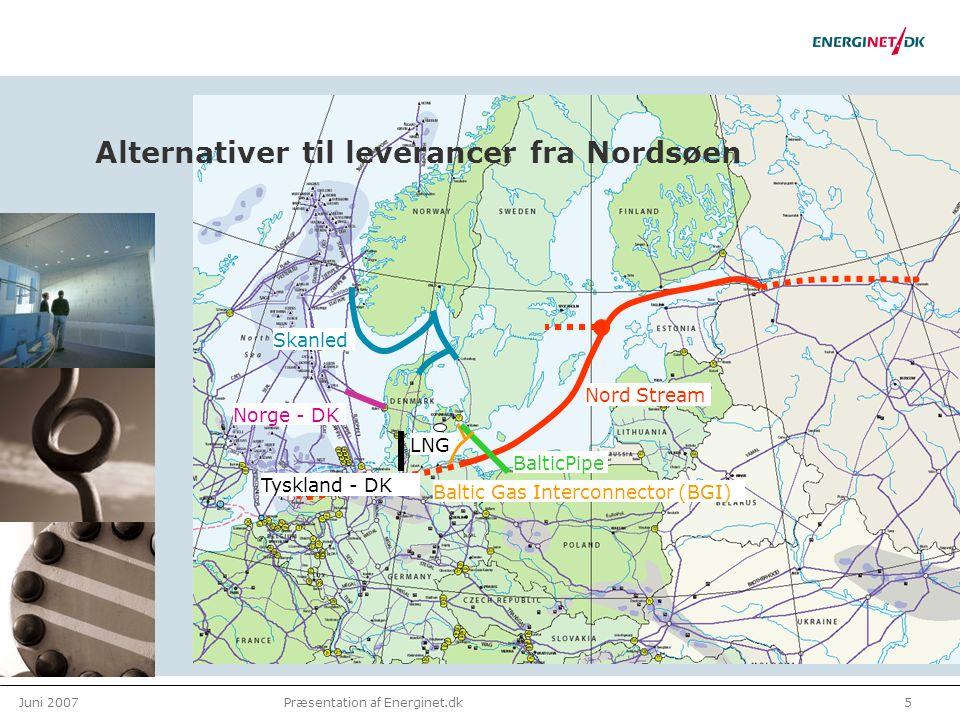 Juni 20075Præsentation af Energinet.dk Alternativer til leverancer fra Nordsøen Norge - DK Skanled Baltic Gas Interconnector (BGI) LNG Nord Stream BalticPipe Tyskland - DK