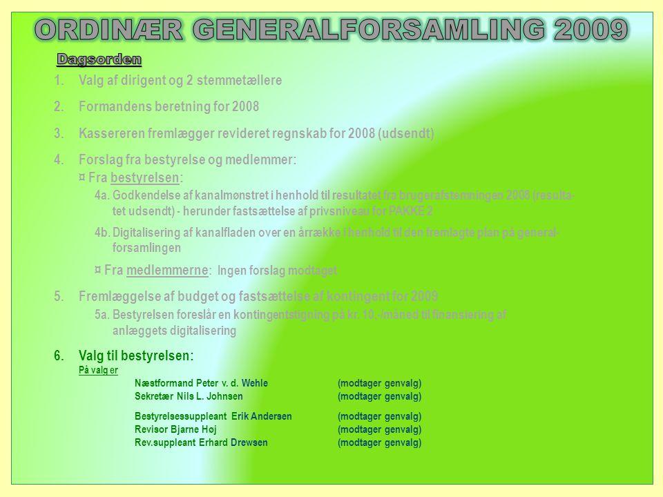1.Valg af dirigent og 2 stemmetællere 2.Formandens beretning for 2008 3.Kassereren fremlægger revideret regnskab for 2008 (udsendt) 4.Forslag fra bestyrelse og medlemmer: ¤ Fra bestyrelsen: 4a.