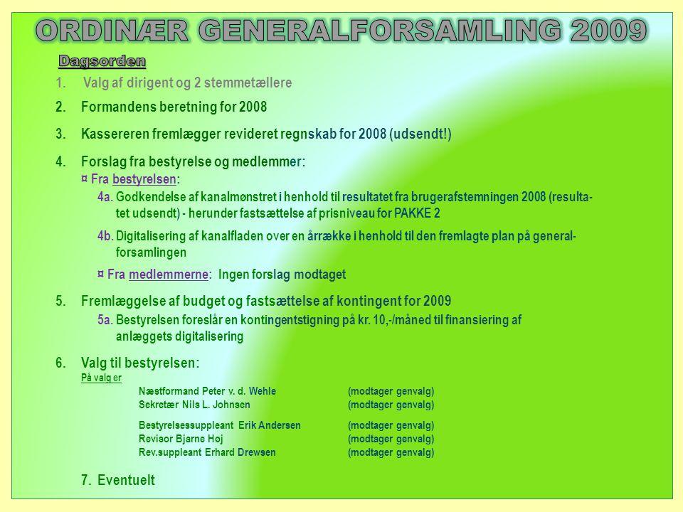 2.Formandens beretning for 2008 3.Kassereren fremlægger revideret regnskab for 2008 (udsendt!) 4.Forslag fra bestyrelse og medlemmer: ¤ Fra bestyrelsen: 4a.
