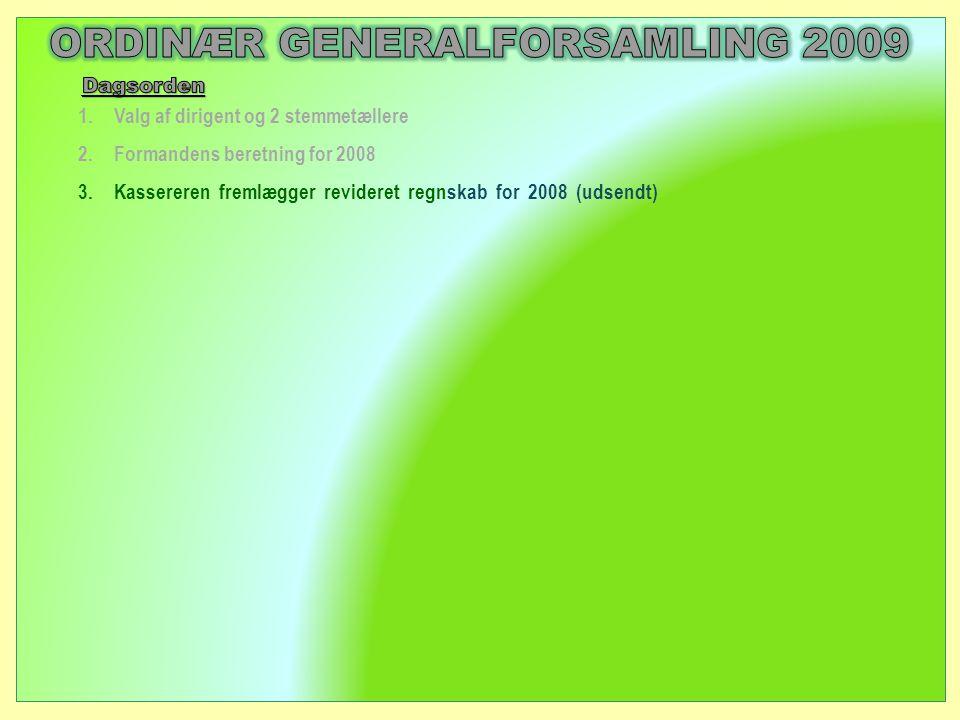 1.Valg af dirigent og 2 stemmetællere 2.Formandens beretning for 2008 3.Kassereren fremlægger revideret regnskab for 2008 (udsendt)