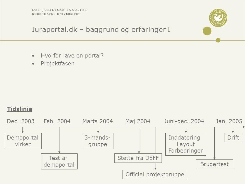 Juraportal.dk – baggrund og erfaringer I •Hvorfor lave en portal.