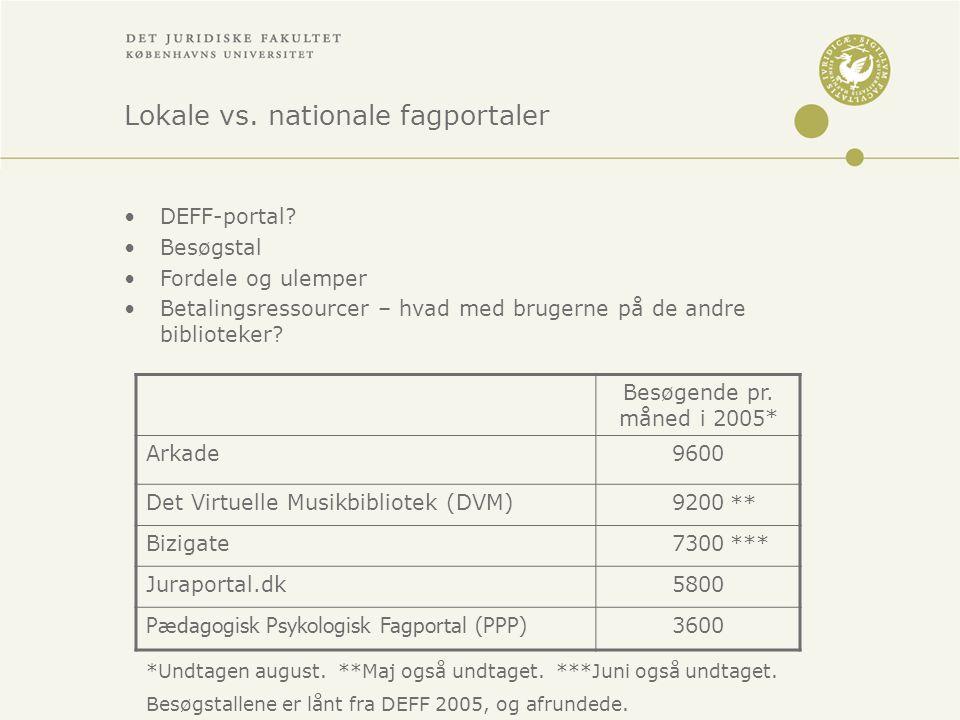 Lokale vs. nationale fagportaler •DEFF-portal.