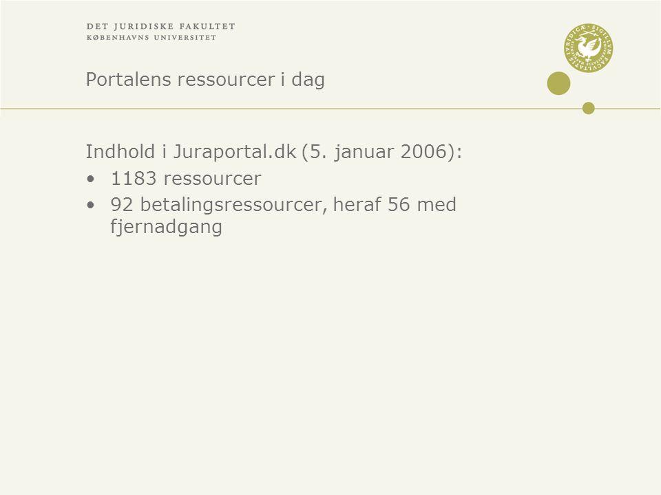 Portalens ressourcer i dag Indhold i Juraportal.dk (5.