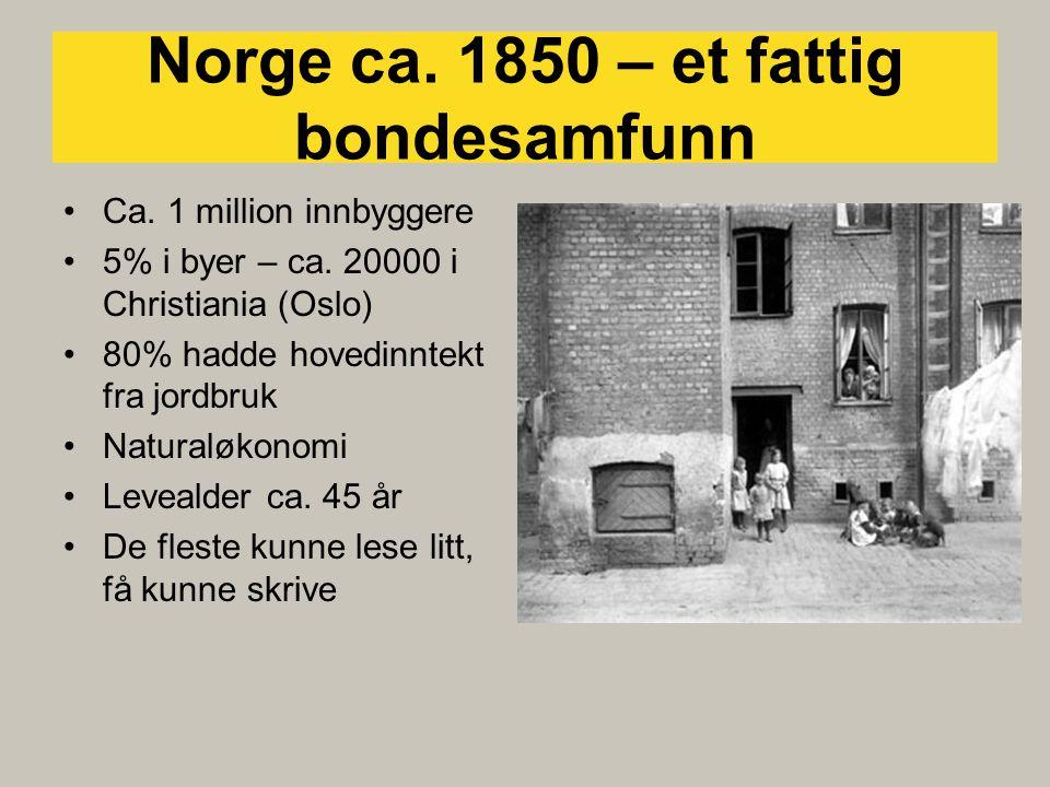 Norge ca. 1850 – et fattig bondesamfunn •Ca. 1 million innbyggere •5% i byer – ca.