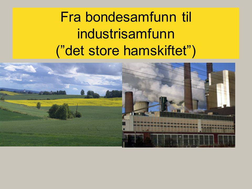 Fra bondesamfunn til industrisamfunn ( det store hamskiftet ) Hva skal til for take-off
