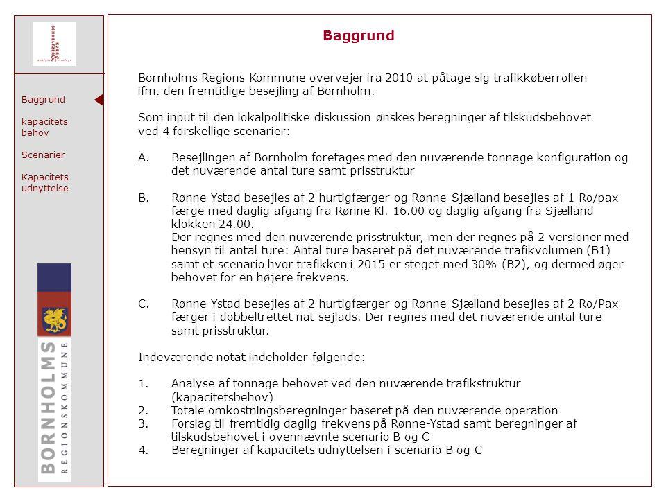 Baggrund kapacitets behov Scenarier Kapacitets udnyttelse Baggrund Bornholms Regions Kommune overvejer fra 2010 at påtage sig trafikkøberrollen ifm.