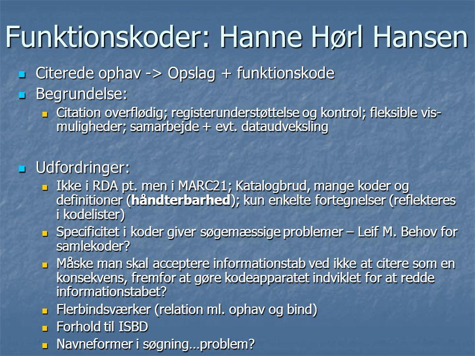 Funktionskoder: Hanne Hørl Hansen  Citerede ophav -> Opslag + funktionskode  Begrundelse:  Citation overflødig; registerunderstøttelse og kontrol; fleksible vis- muligheder; samarbejde + evt.